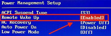 Wake On Lan - BIOS voorbeeld 3