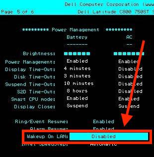 Wake On Lan - BIOS voorbeeld 1