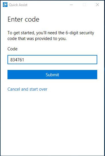 Quick Assist - Code invoeren