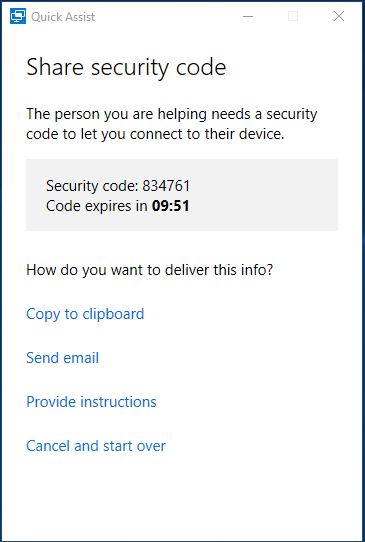 Quick Assist - Security Code