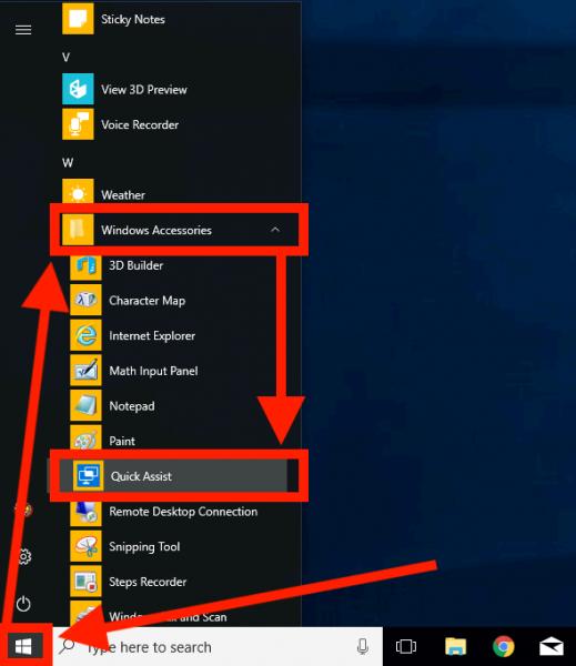Start Quick Assist via het Start menu