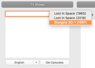 Rename My TV Series - History Menu