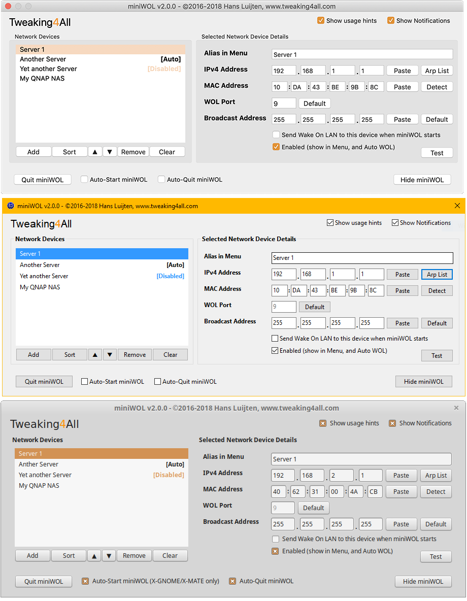 miniWOL2 - Instellingen voor MacOS, Windows en Linux