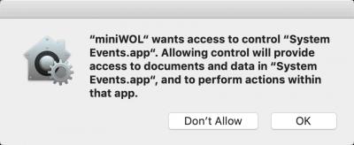 miniWOL - MacOS: Toegang tot System Events