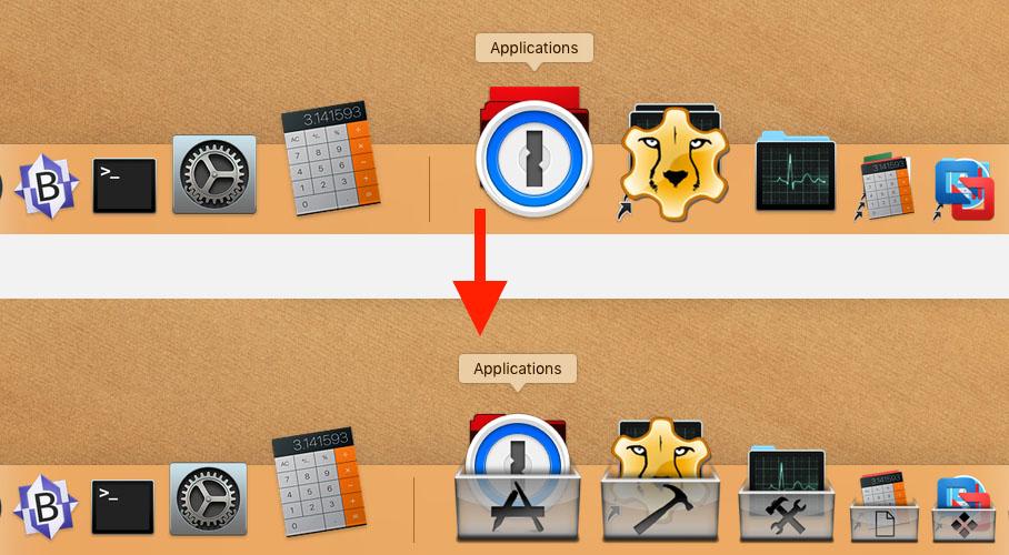 MacOS - Stack Overlays in de Dock - Voor en Na voorbeeld