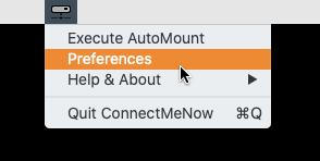 ConnectMeNow met een leeg menu