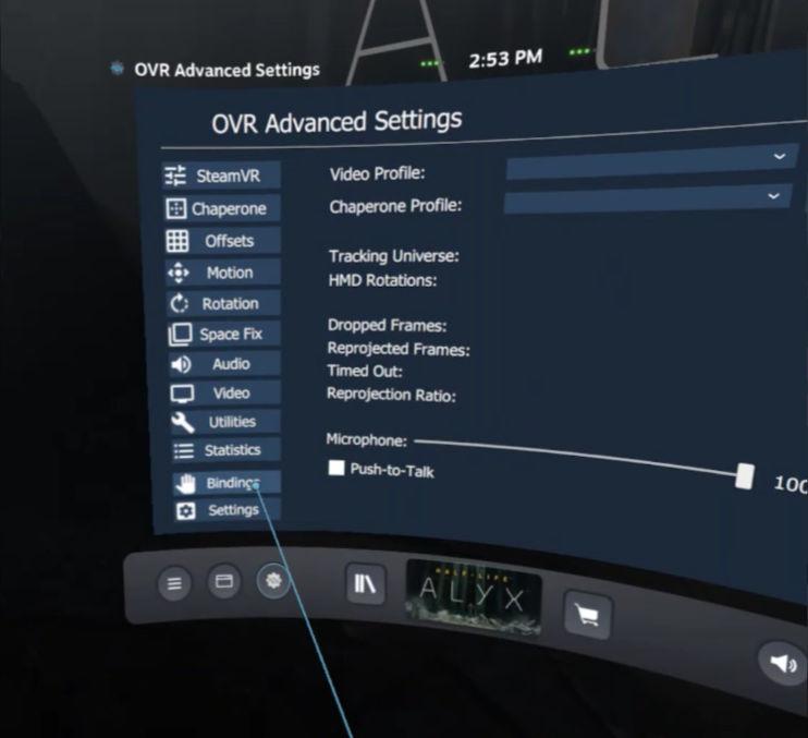 OpenVR Advancedsetting - Bindings nodig voor het koppelen van de screenshot functie