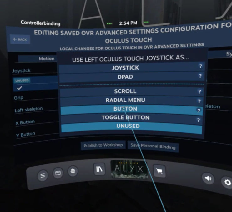 OpenVR Advancedsetting - Linkse Joystick BUTTON voor Screenshots