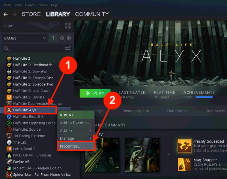 Half-Life: Alyx: Open de Properties