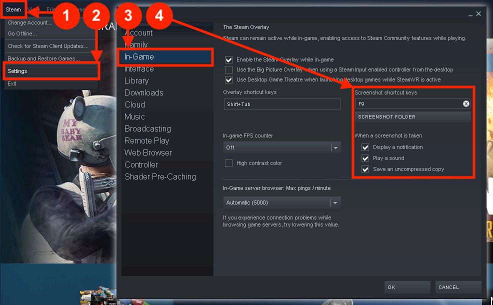 Steam - Een andere toets kiezen voor screenshots