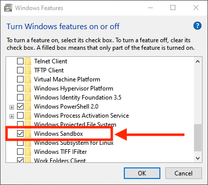 Windows 10 Features - Sandbox aanvinken