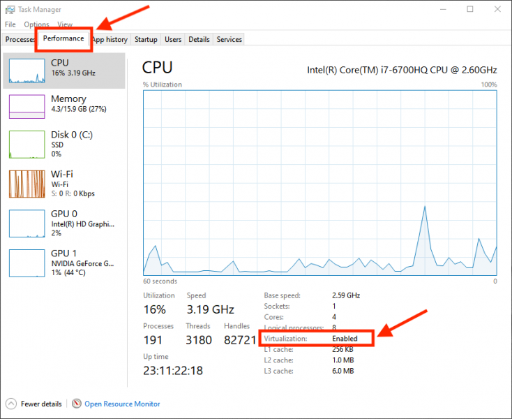 Windows 10 Task Manager - Performance Details
