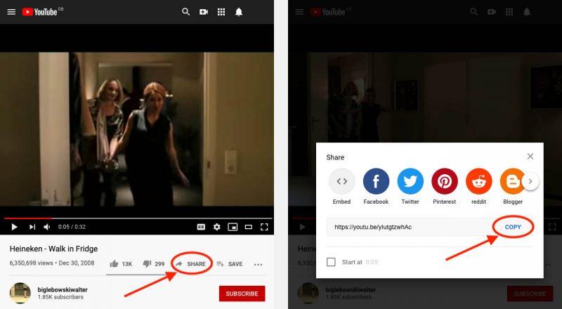 """De """"Share"""" link vinden op YouTube"""