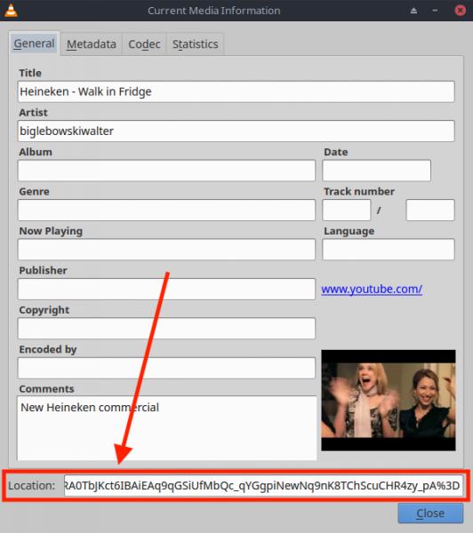 Linux - Bepaal de werkelijke URL van de YouTube Video in VLC