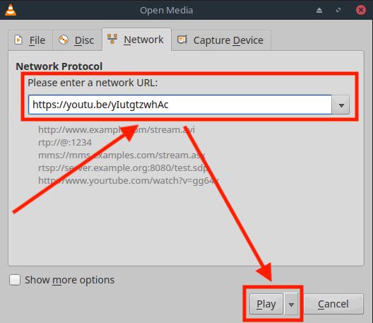 Linux - Open de YouTube Share Link met VLC