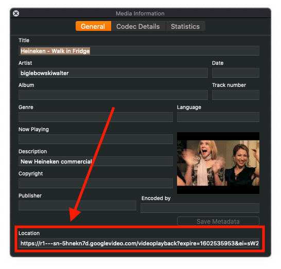 MacOS - Bepaal de werkelijke URL van de YouTube Video in VLC