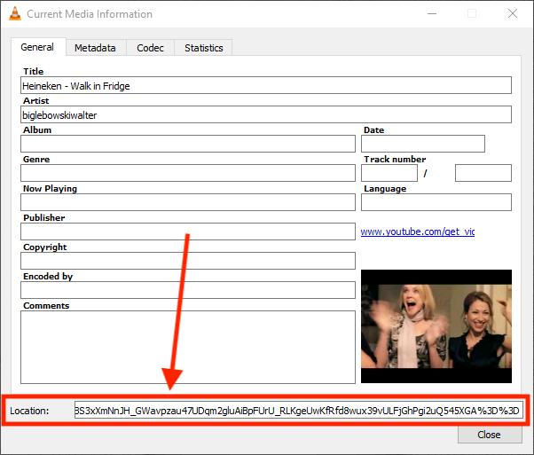 Windows - Bepaal de werkelijke URL van de YouTube Video in VLC