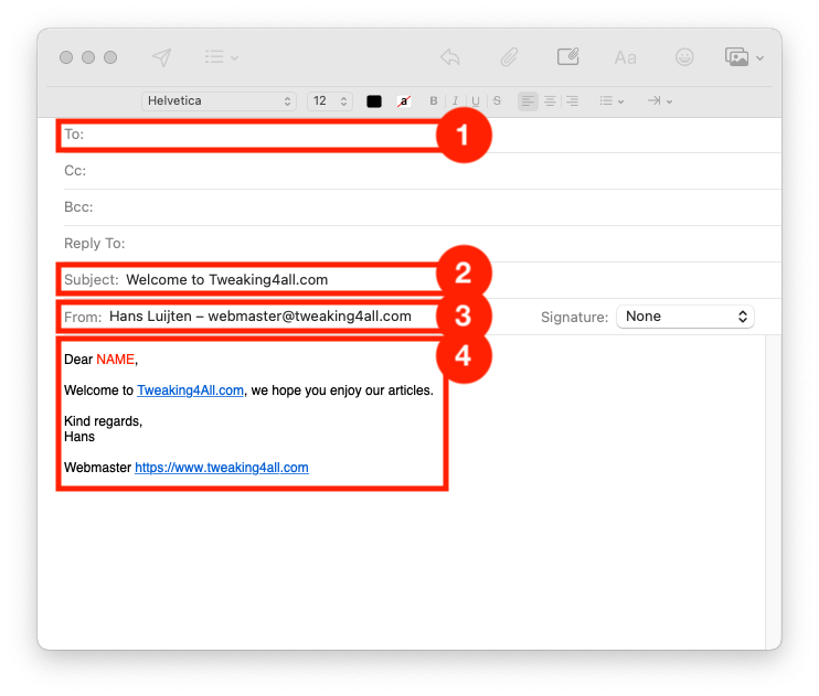 Onze template email