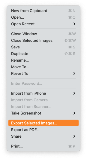 Preview - Export selected images